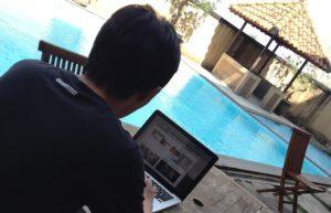 work beside the pool