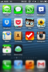 My main four messanging apps: Line, Message, Whatsapp and (Facebook) Messanger