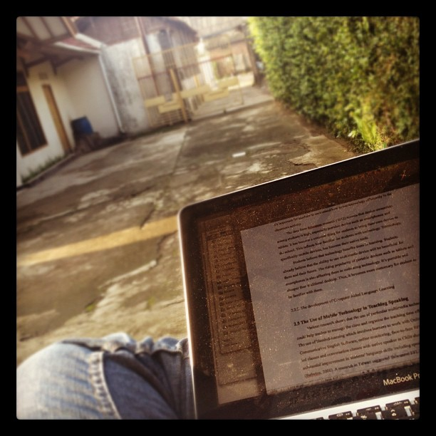 Outdoor thesis writing session…