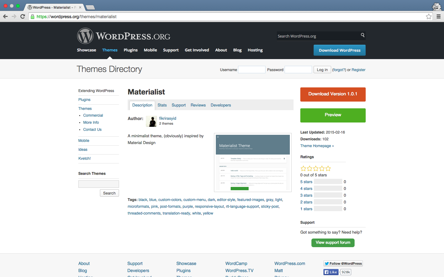Materialist – Theme Kedua di WordPress Theme Repository