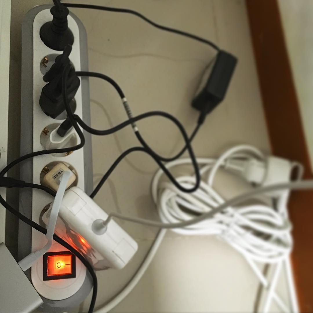 Busy power outlets.