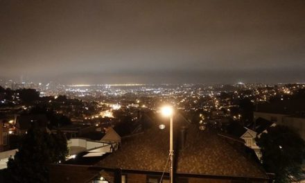 SF city view at night. It was …
