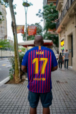 Mak on his Barcelona FC jersey