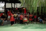 The music performer of the barongsai lion dance show