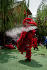The barongsai lion spitting some white-ish substance